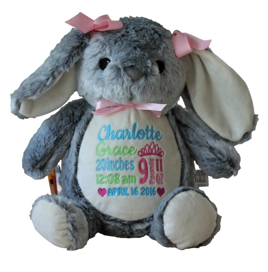 Personalized Gray Bunny Stuffed Animal
