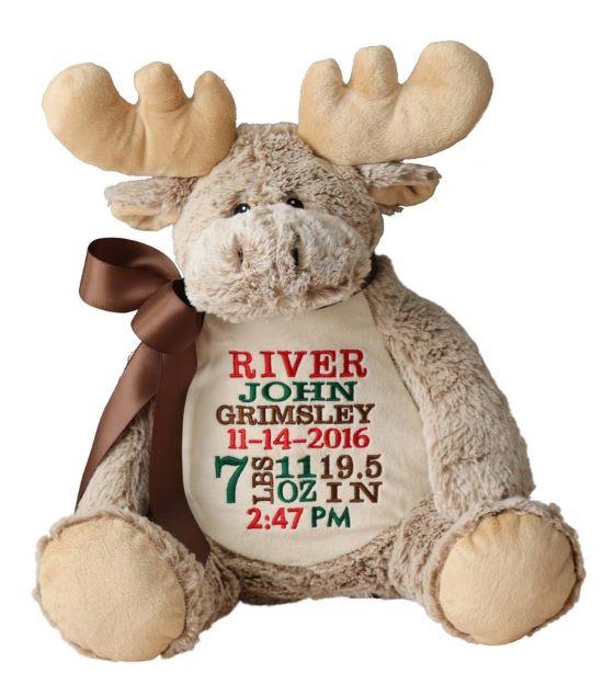 Personalized Embroidery Buddy Moose Stuffed Animal